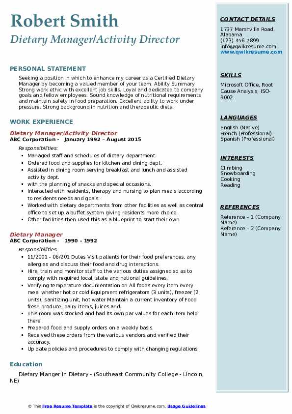 Dietary Manager/Activity Director Resume Sample