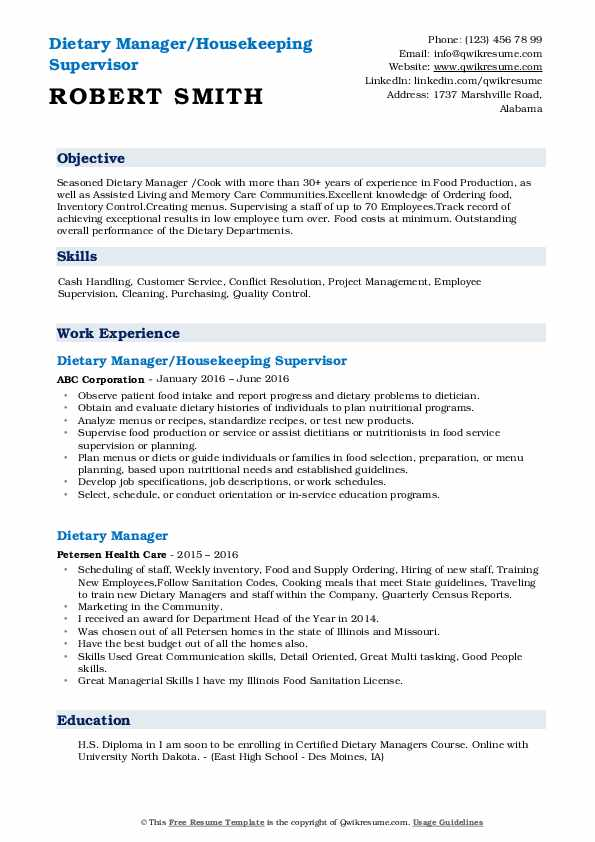 Dietary Manager/Housekeeping Supervisor Resume Format