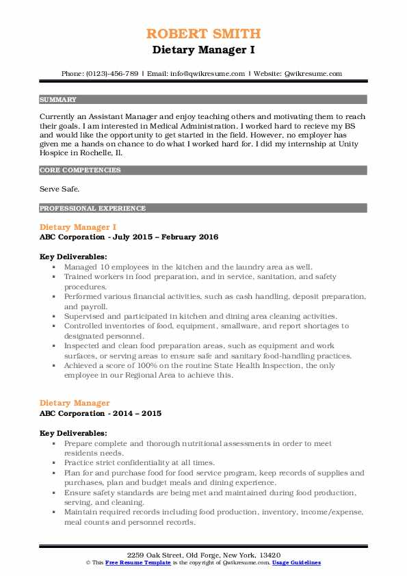 Dietary Manager I Resume Sample
