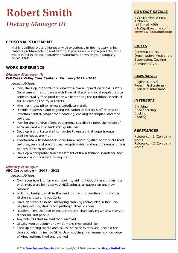 Dietary Manager III Resume Format