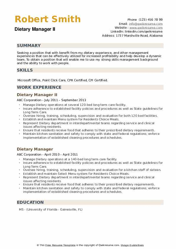 Dietary Manager II Resume Template