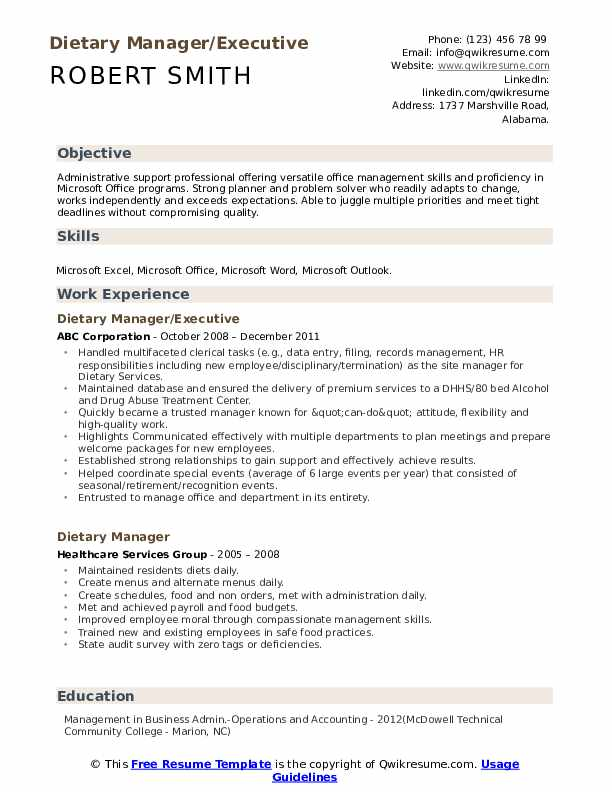Dietary Manager/Executive Resume Format