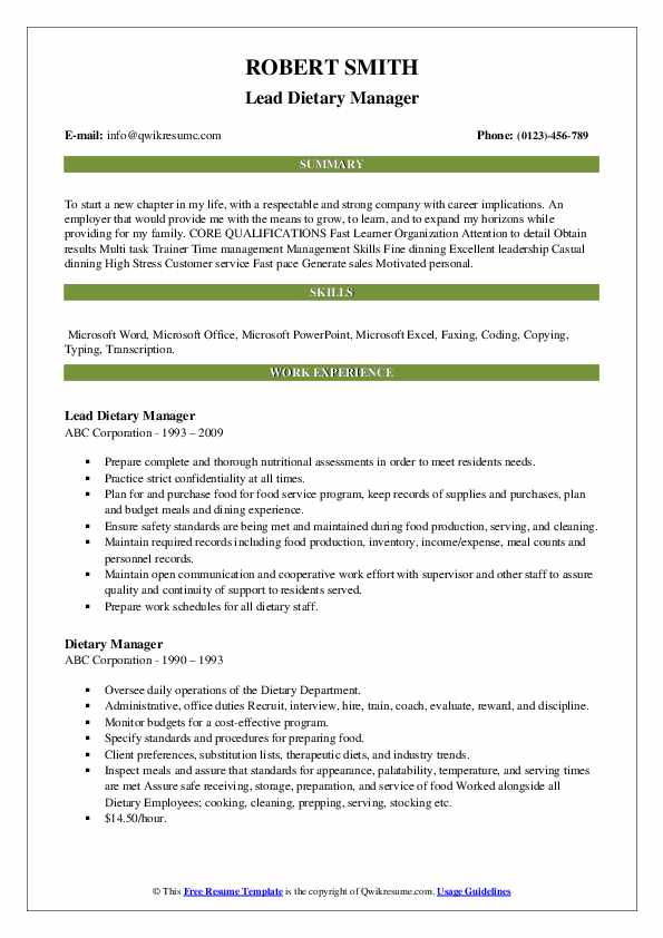 Lead Dietary Manager Resume Example