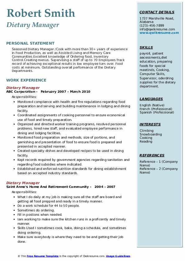 Dietary Manager Resume example