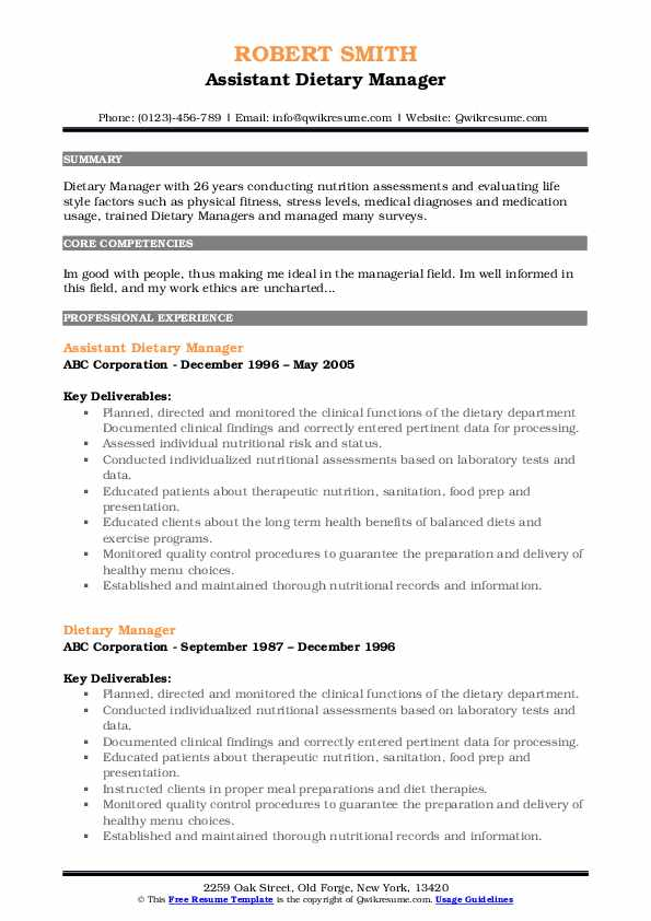 Associate Certified Dietary Manager Resume Sample