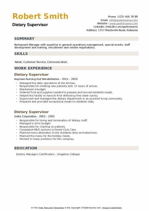 Dietary Supervisor Resume example