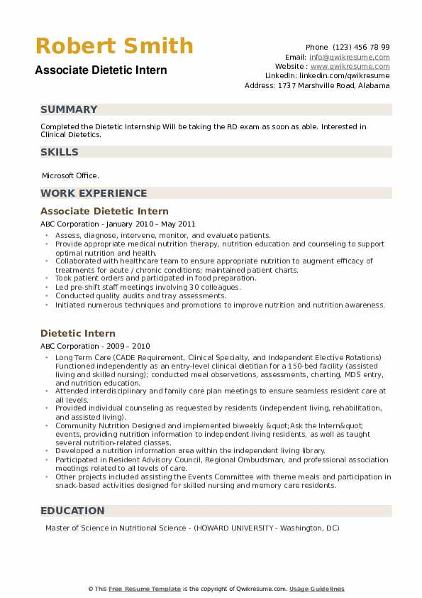 Dietetic Intern Resume example