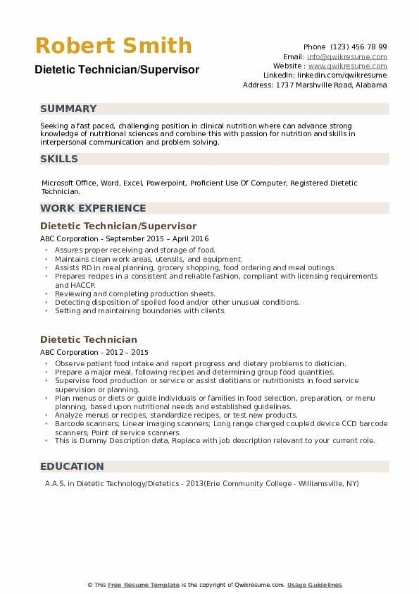 Dietetic Technician Resume example