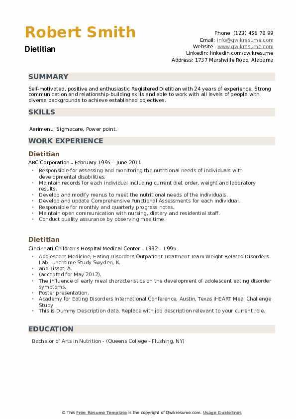 Dietitian Resume example