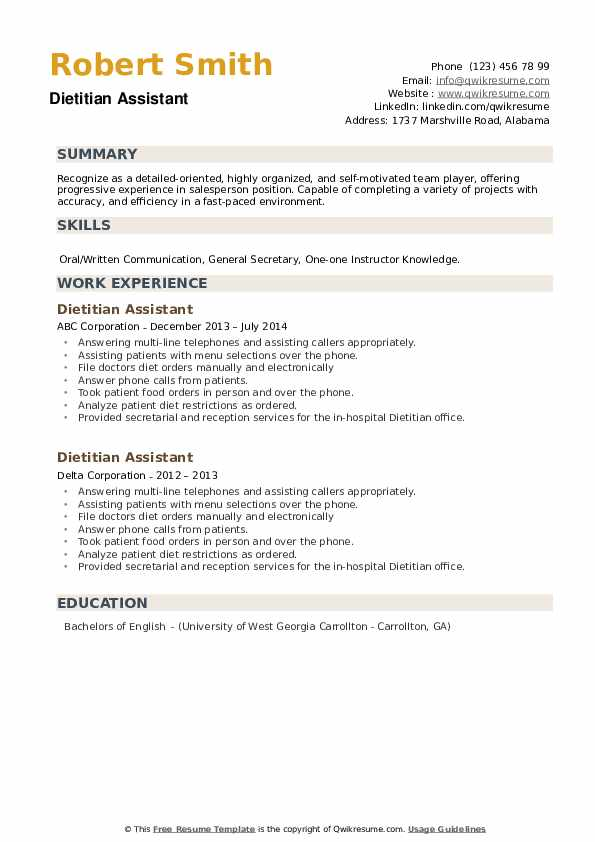Dietitian Assistant Resume example