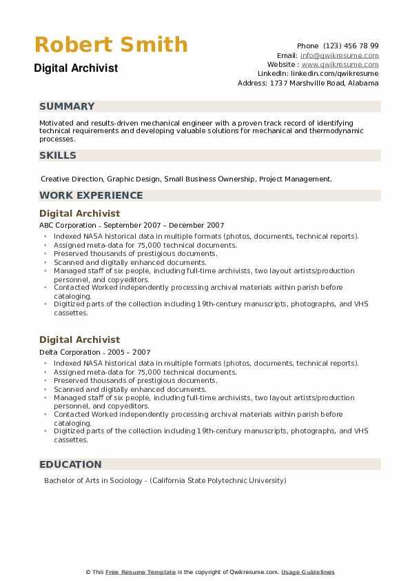 Digital Archivist Resume example