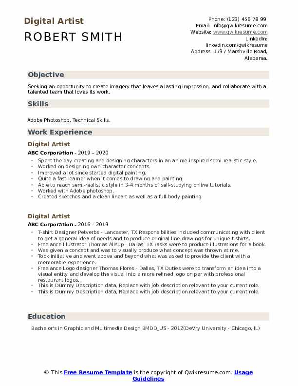 Digital Artist Resume example