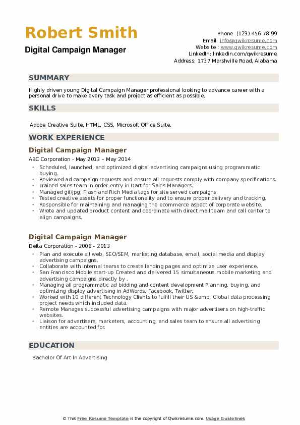 Digital Campaign Manager Resume example