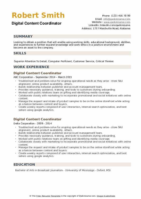 Digital Content Coordinator Resume example
