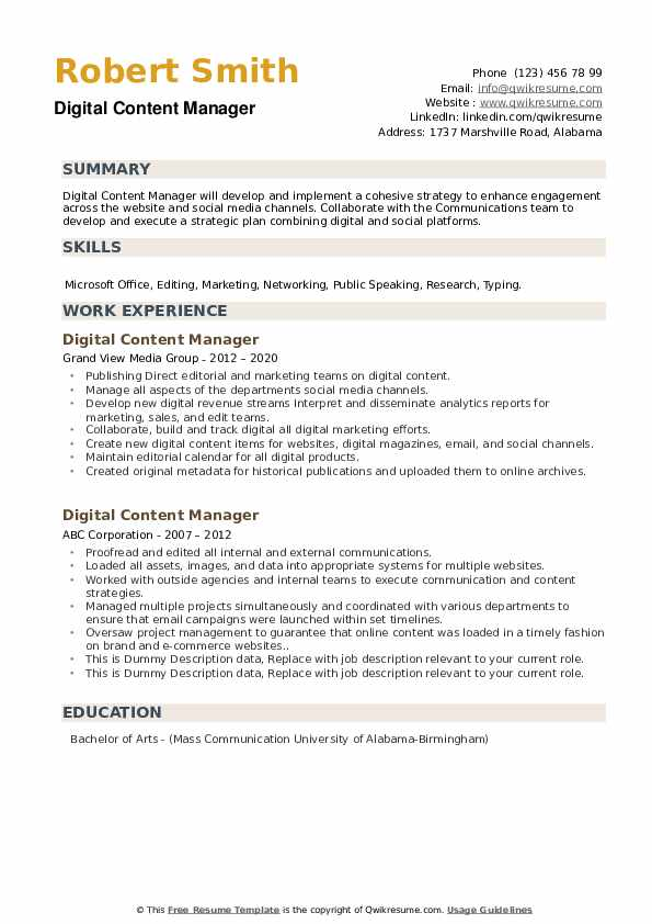 Digital Content Manager Resume example