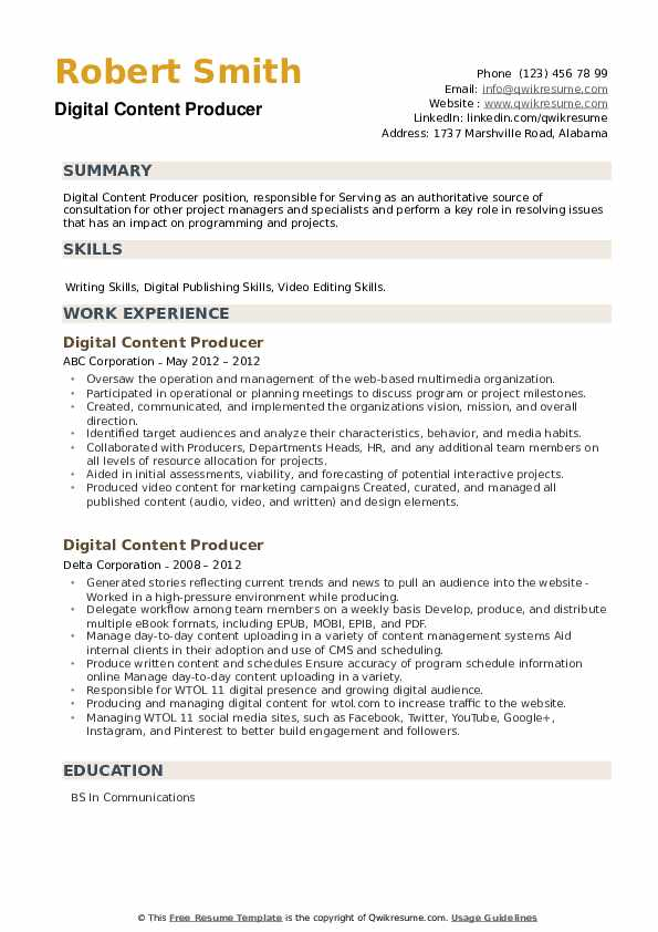 Digital Content Producer Resume example