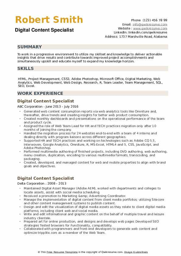 Digital Content Specialist Resume example