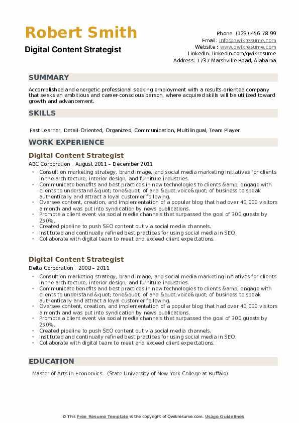 Digital Content Strategist Resume example