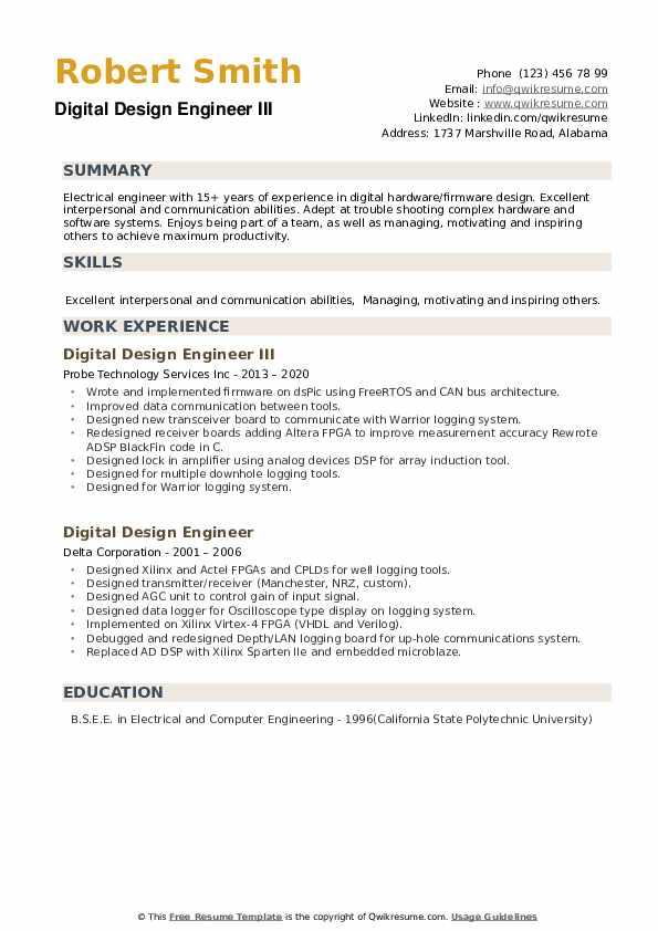 Digital Design Engineer Resume Samples Qwikresume