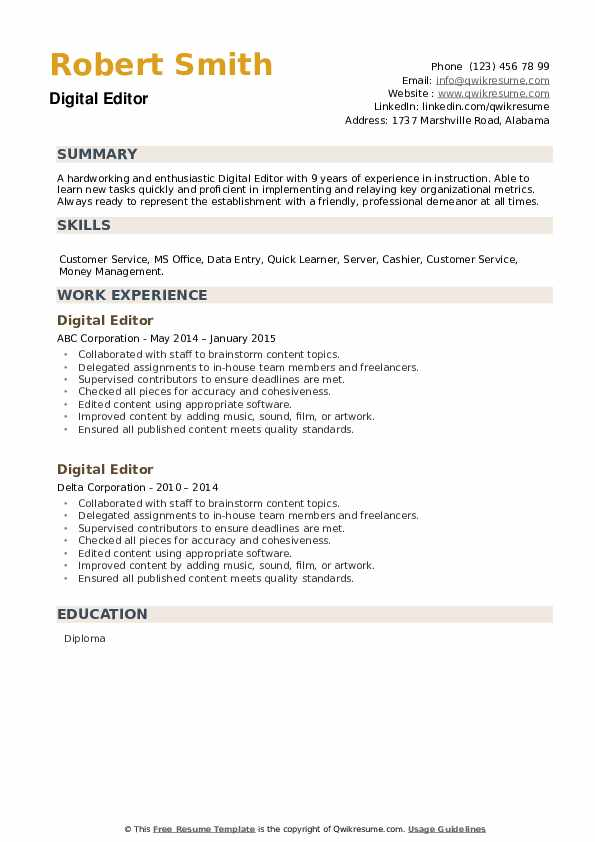 Digital Editor Resume example