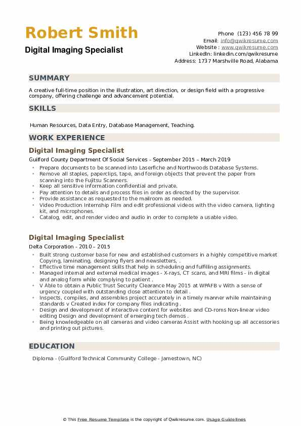 Digital Imaging Specialist Resume example