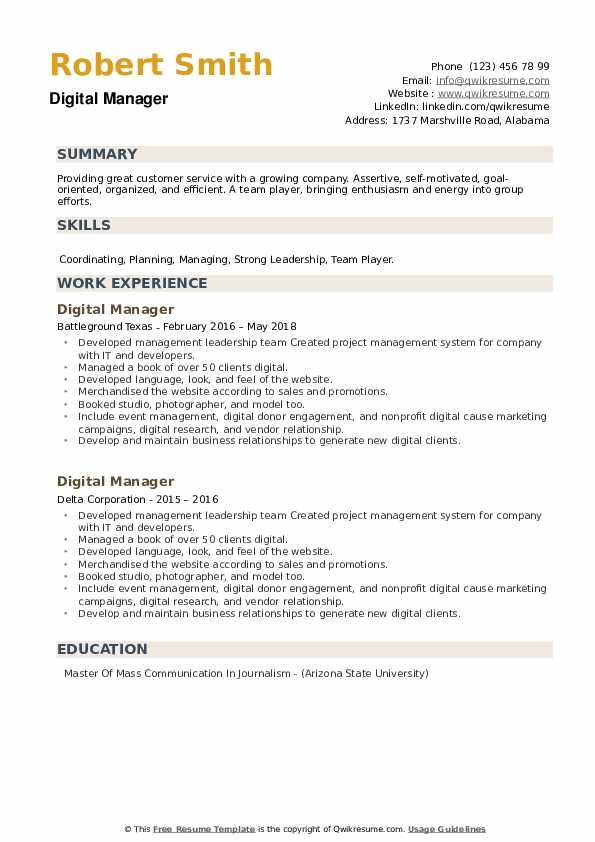 Digital Manager Resume example