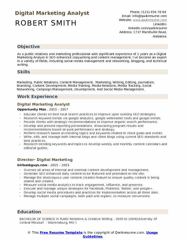 digital marketing analyst resume model