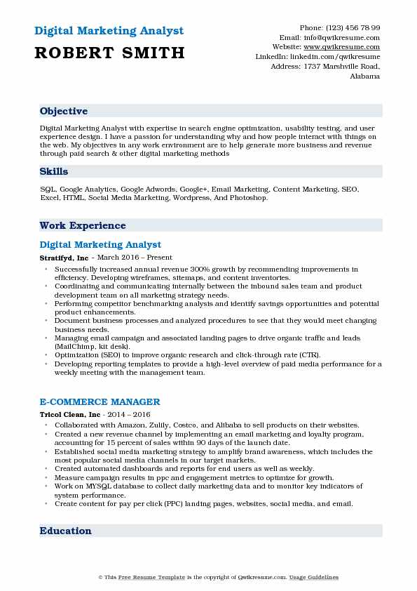 digital marketing analyst resume samples