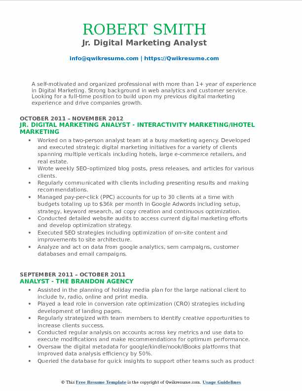 Jr. Digital Marketing Analyst Resume Example
