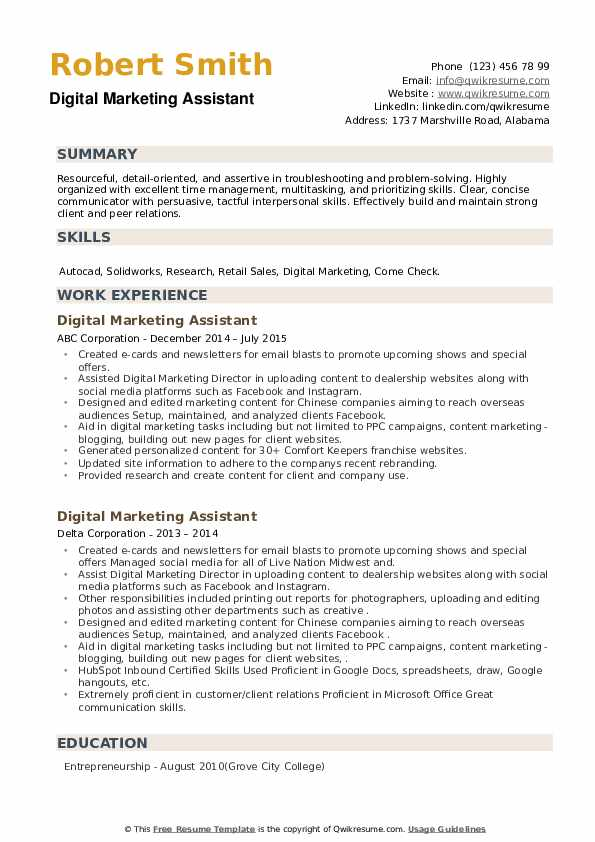 Digital Marketing Assistant Resume example