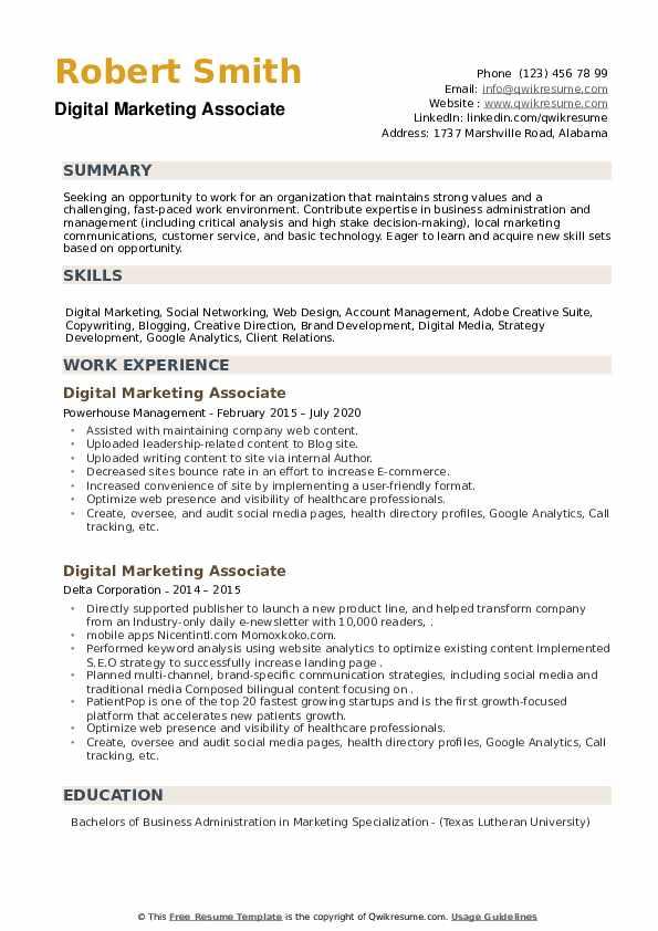 Digital Marketing Associate Resume example