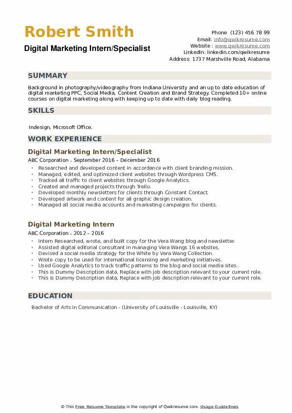Digital Marketing Intern Resume Samples Qwikresume