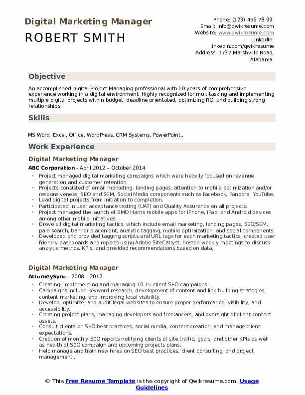 Digital Marketing Manager Resume Model