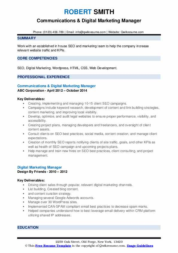 Communications & Digital Marketing Manager Resume Format