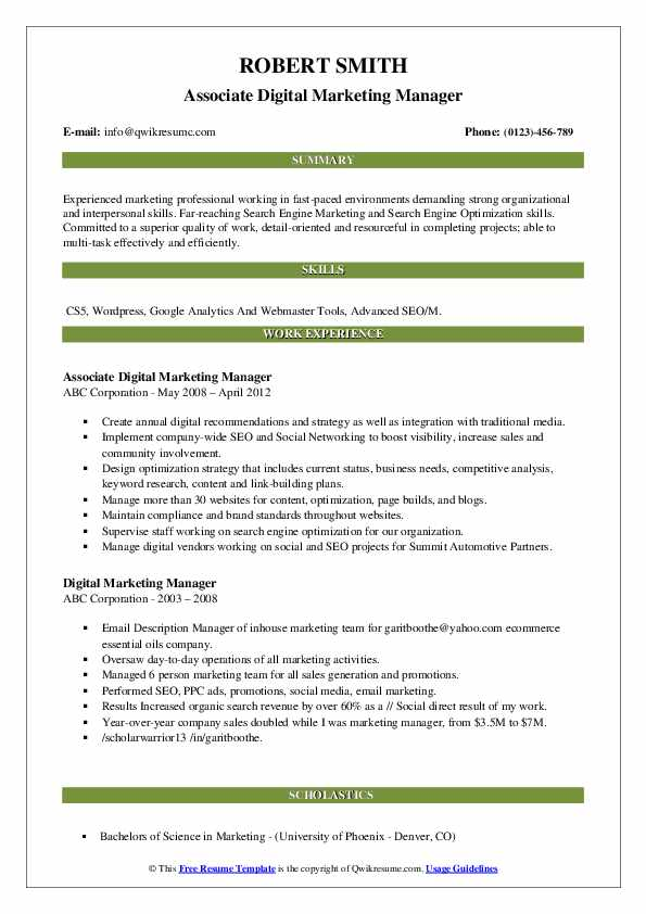 Associate Digital Marketing Manager Resume Template