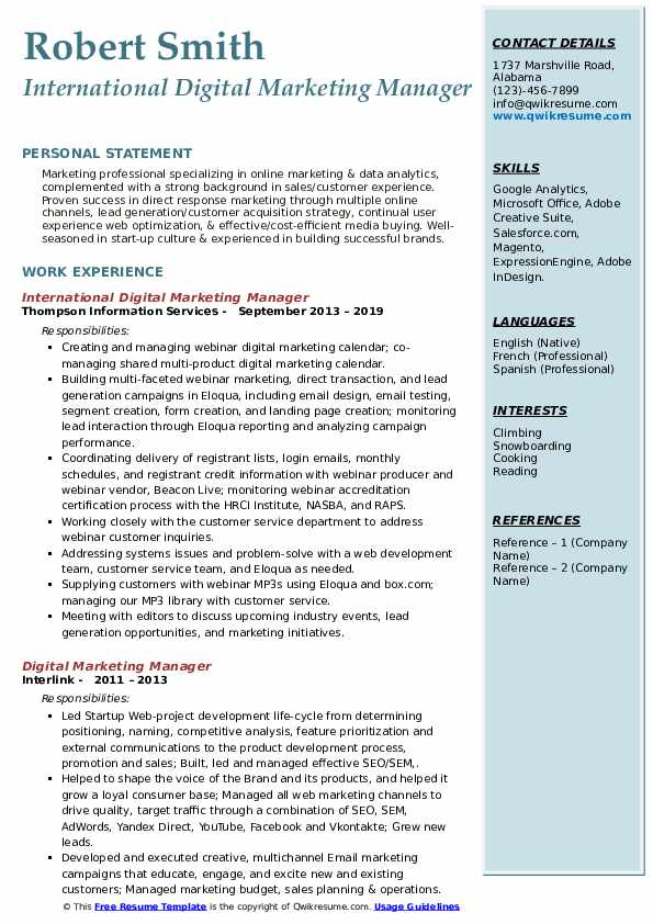 International Digital Marketing Manager Resume Model