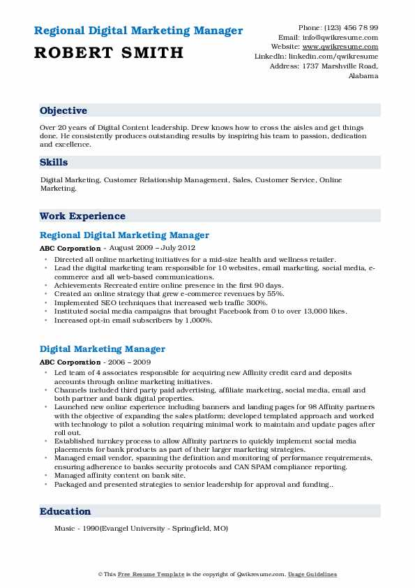Regional Digital Marketing Manager Resume Template