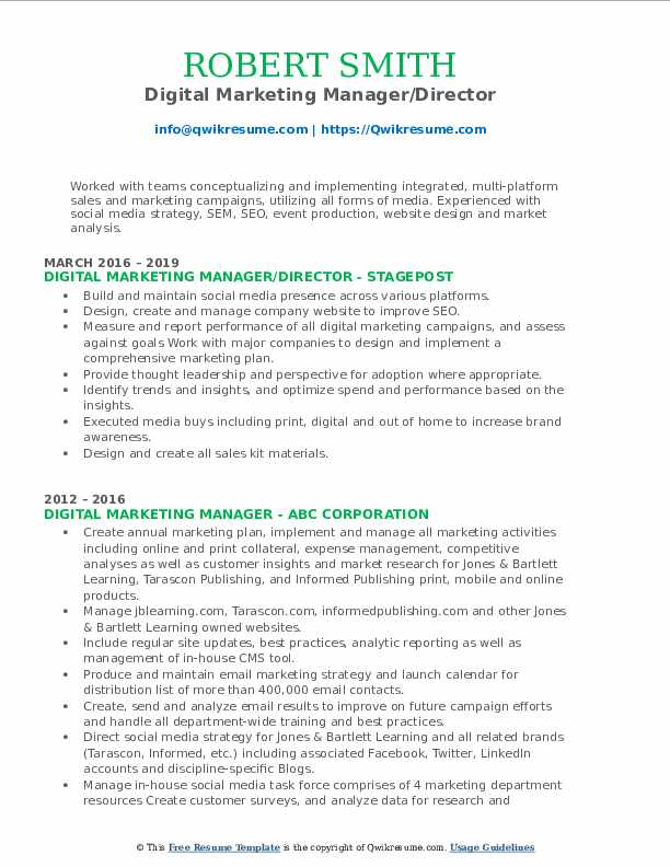 Digital Marketing Manager/Director Resume Format