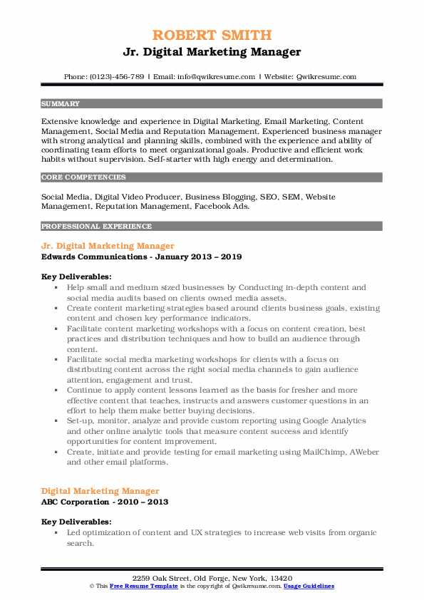 Jr. Digital Marketing Manager Resume Example