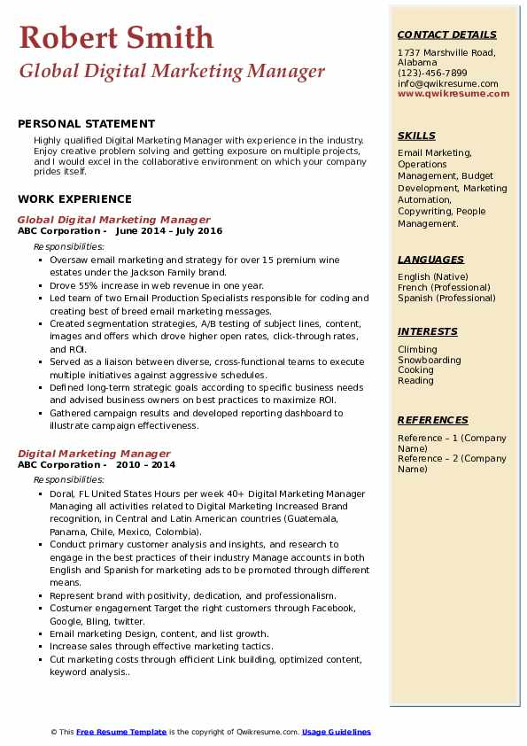 Global Digital Marketing Manager Resume Model