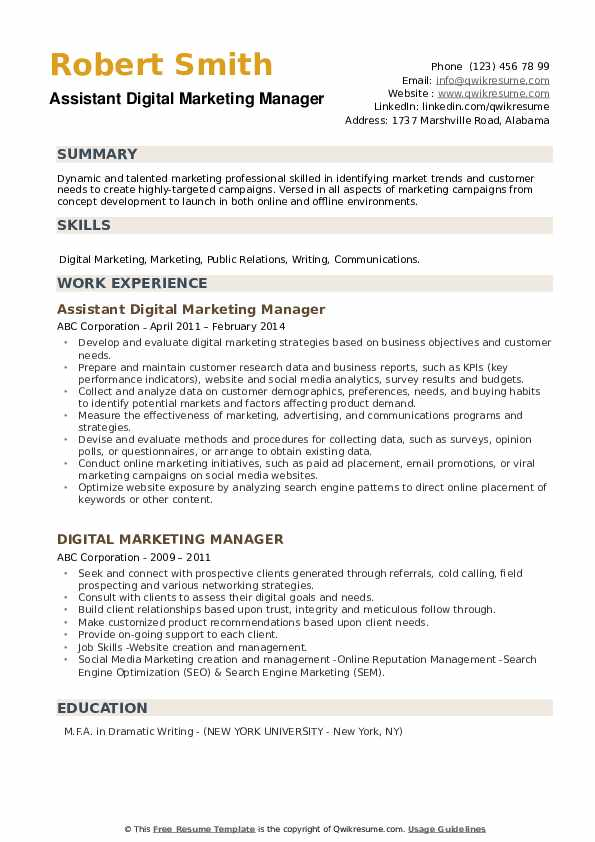 Assistant Digital Marketing Manager Resume Format