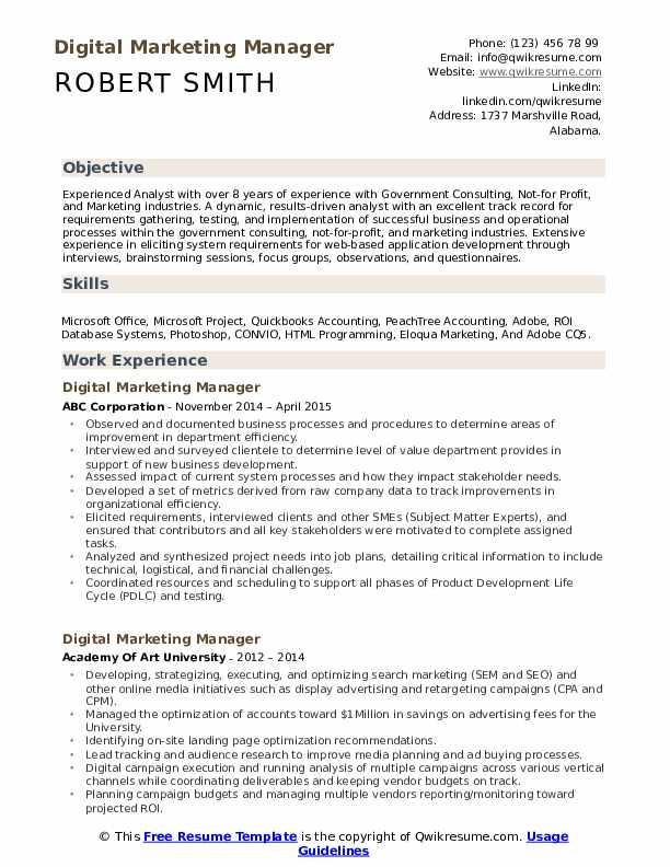 Digital Marketing Resume Template from assets.qwikresume.com