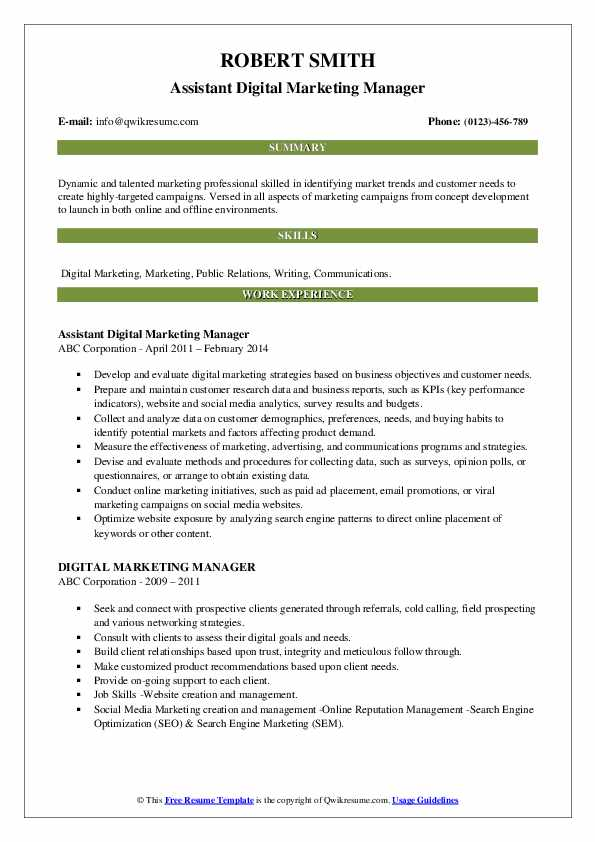 Marketing & Public Relations Manager Resume Template
