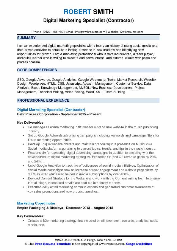 Digital Marketing Specialist (Contractor) Resume Sample  Digital Marketing Resume Sample
