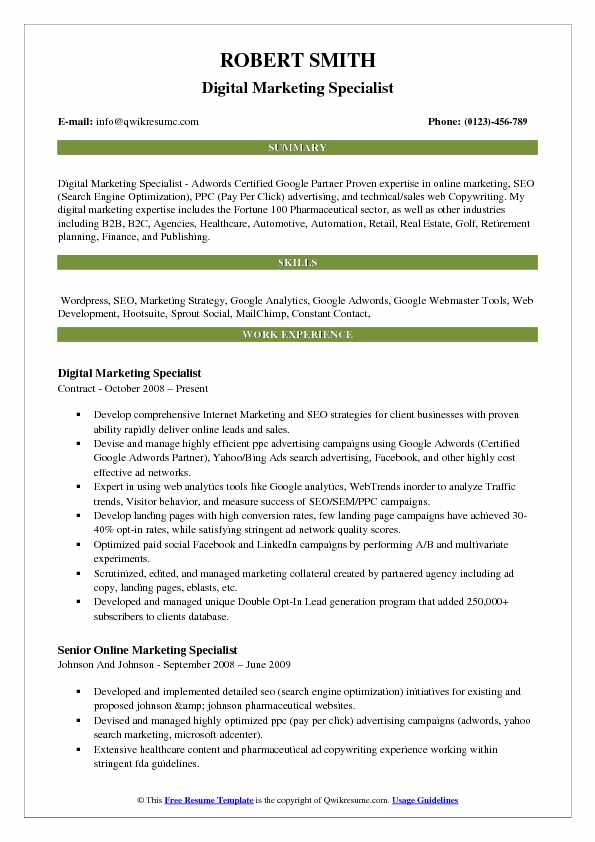 Digital Marketing Specialist Resume Samples