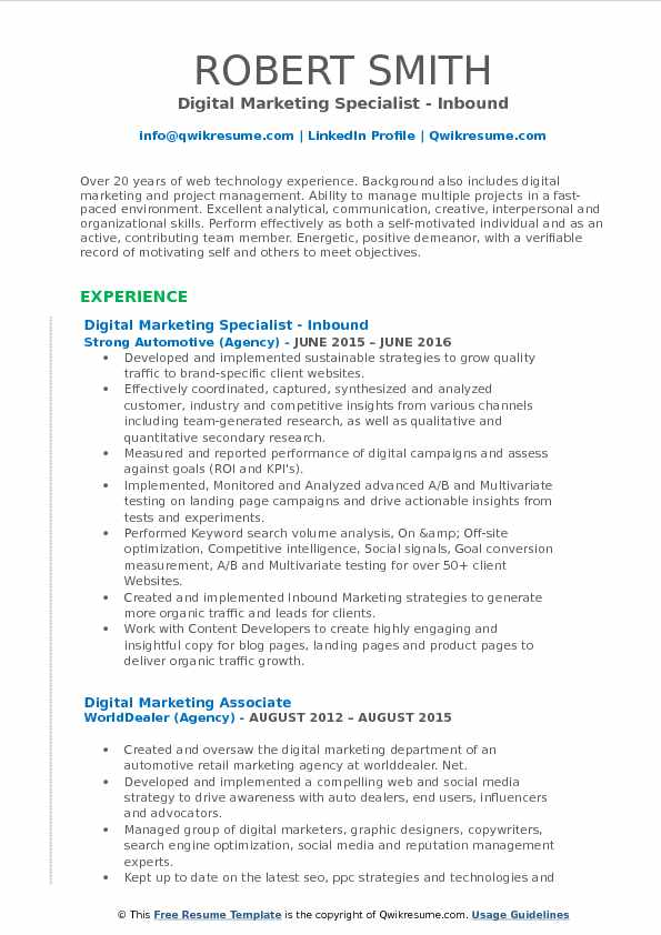 Digital Marketing Specialist   Inbound Resume Sample  Retail Marketing Resume