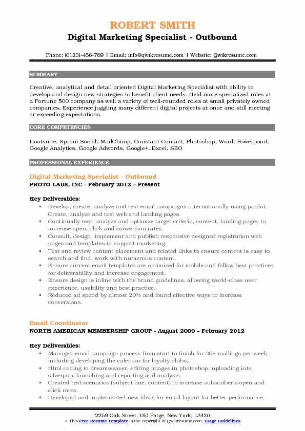 Digital Marketing Specialist - Outbound Resume Example