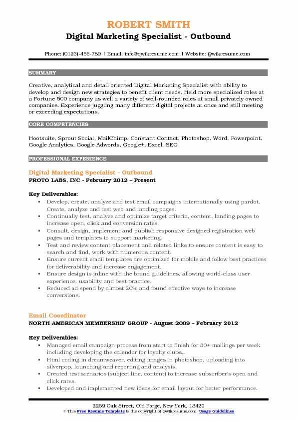 Digital Marketing Specialist - Outbound Resume Sample