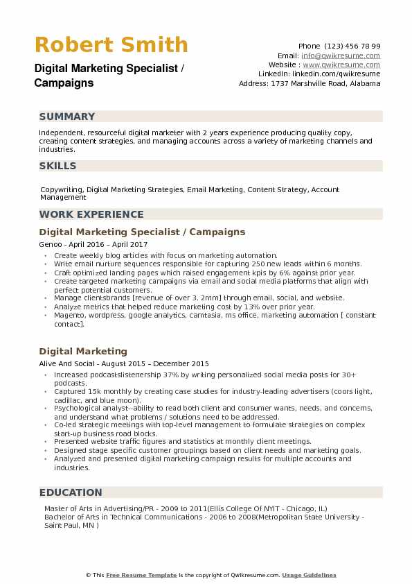 Digital Marketing Specialist / Campaigns Resume Template