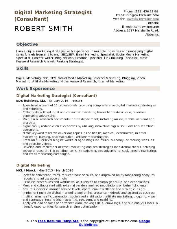 Digital Marketing Strategist (Consultant) Resume Sample